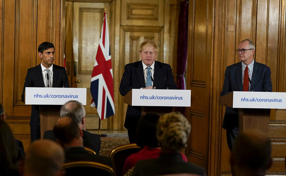Chancellor Rishi Sunak, Prime Minister Boris Johnson and the Government's chief scientific adviser Sir Patrick Vallance. Photo: Andrew Parsons/Number 10/Flickr CC-BY-NC-ND 2.0