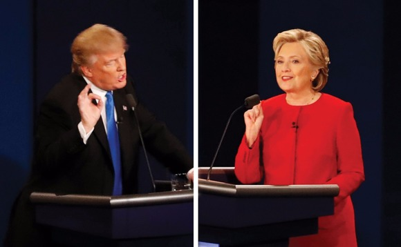 Trump and Clinton spar at the first presidential debate. Photo: Mary Altaffer/AP/Press Association Images