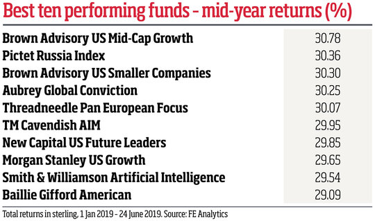 Best ten performing funds - mid-year returns (%)